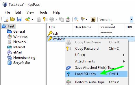 KeePass - Context Menu - Load SSH Key
