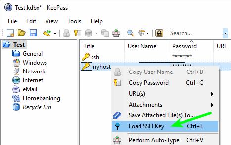 KeePass - Context Menu - Load SSH Key
